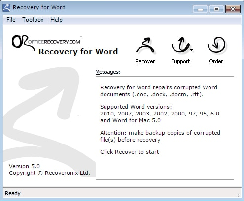 recovery for word