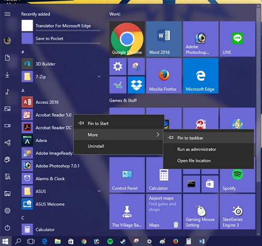 customize the taskbar in Windows 10