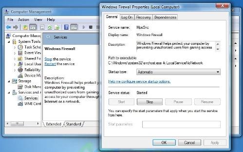windows firewall not working windows 7