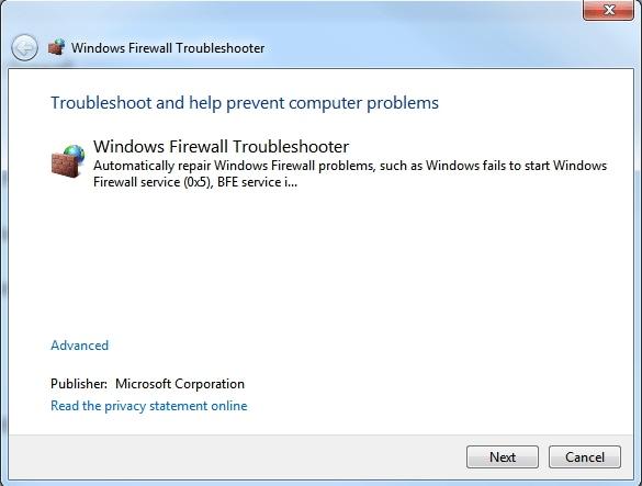 Troubleshooting on Windows Firewall Not Working in Windows