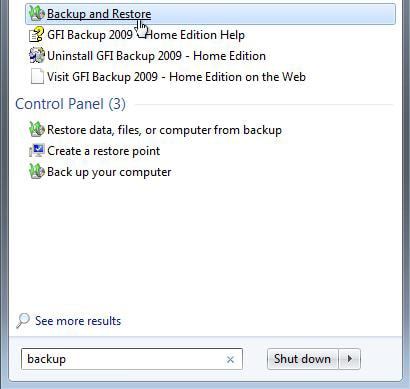 choose the backup and restore function