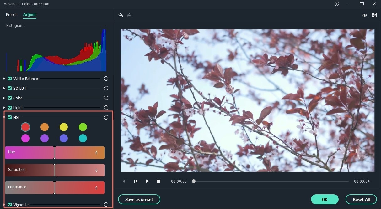 advanced color tuning hsl