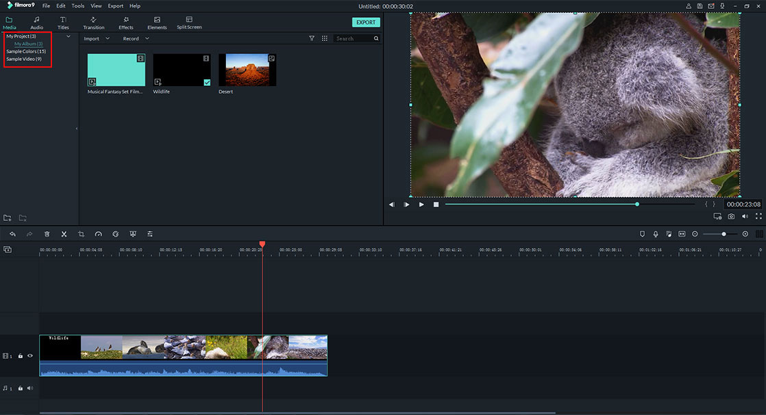 media library of Filmora video editor