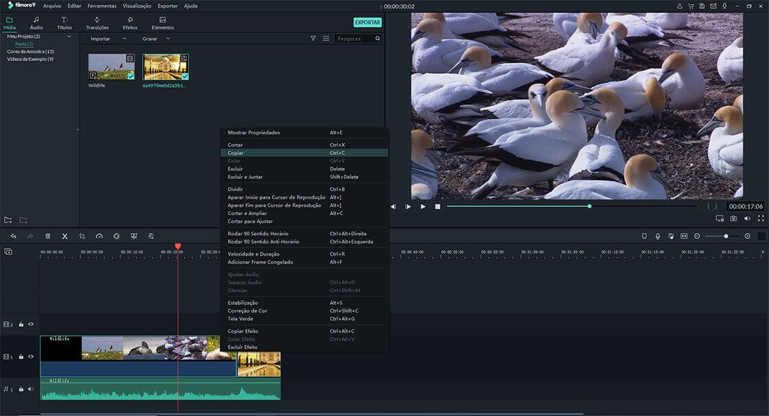 copiar e colar vídeo