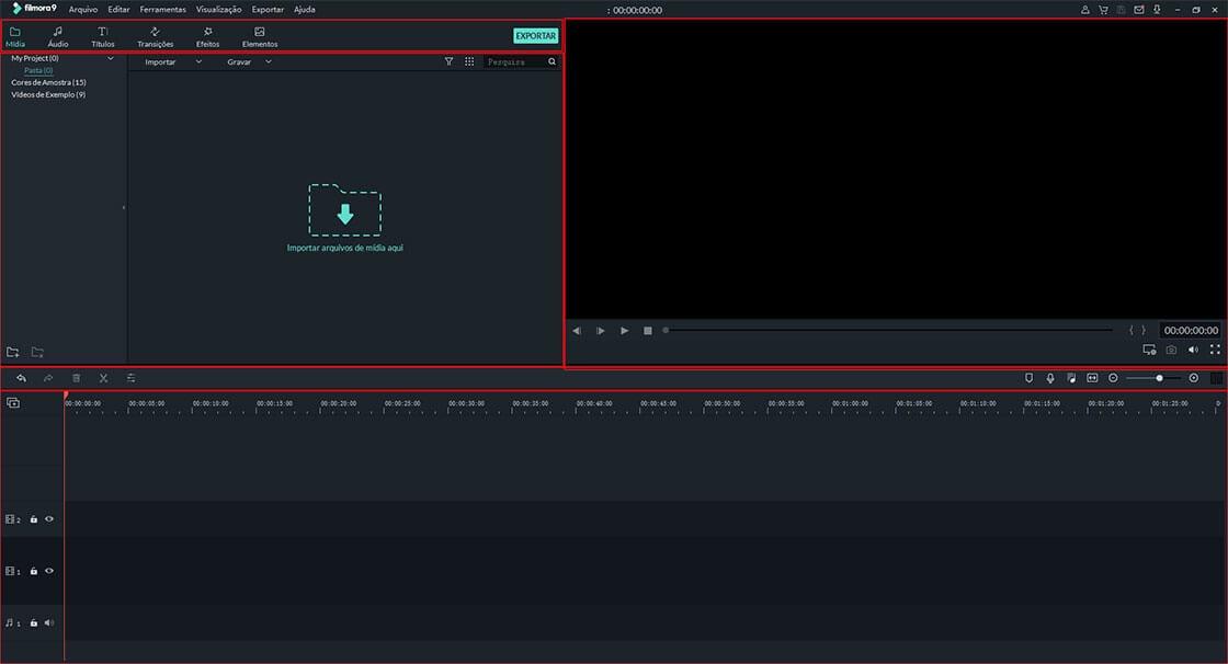 interface principal do filmora
