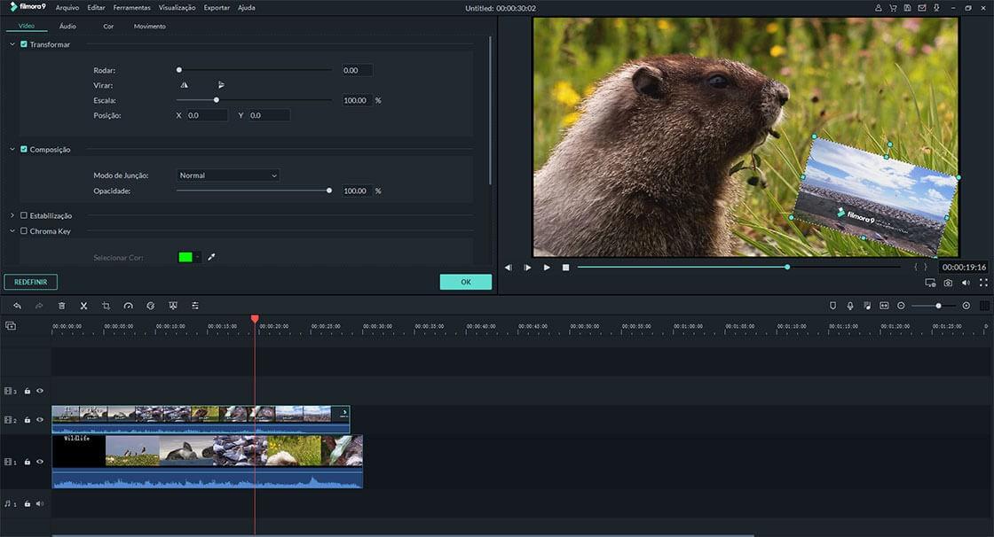 editar a duração do vídeo de sobreposição