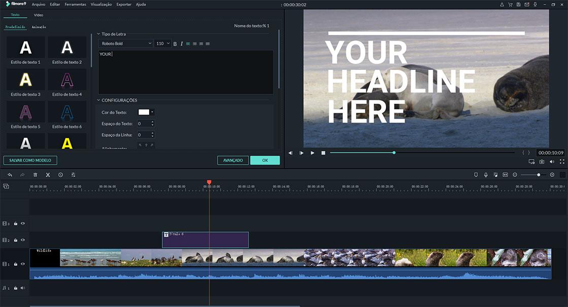 editor de vídeo app adicionar texto