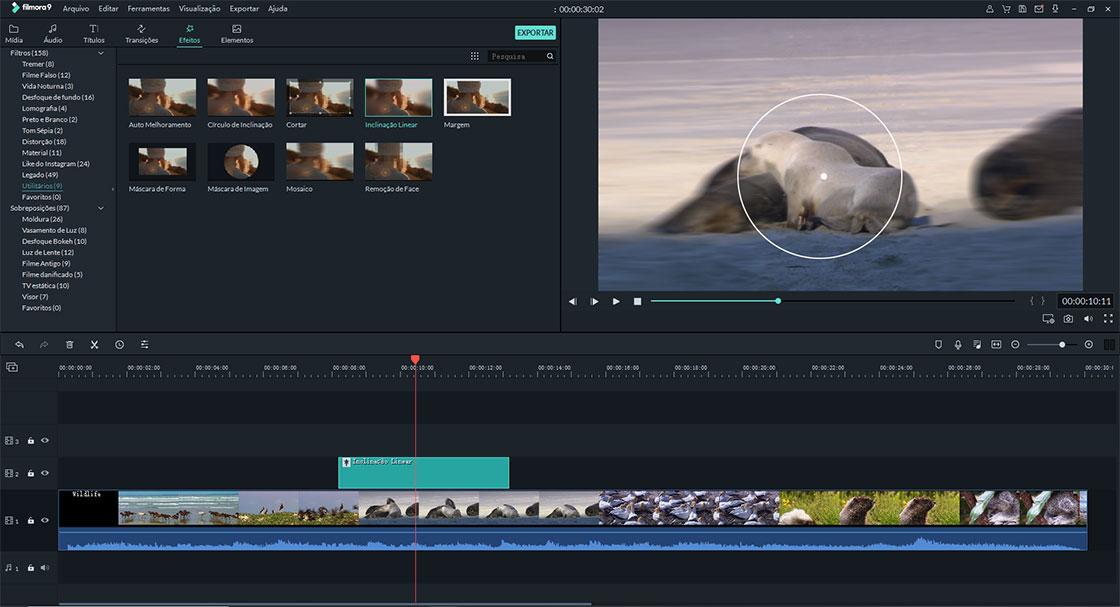 encontre e aplique efeito tilt shift ao seu vídeo