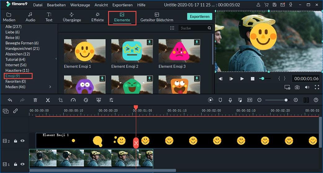 emoji zu video einfügen