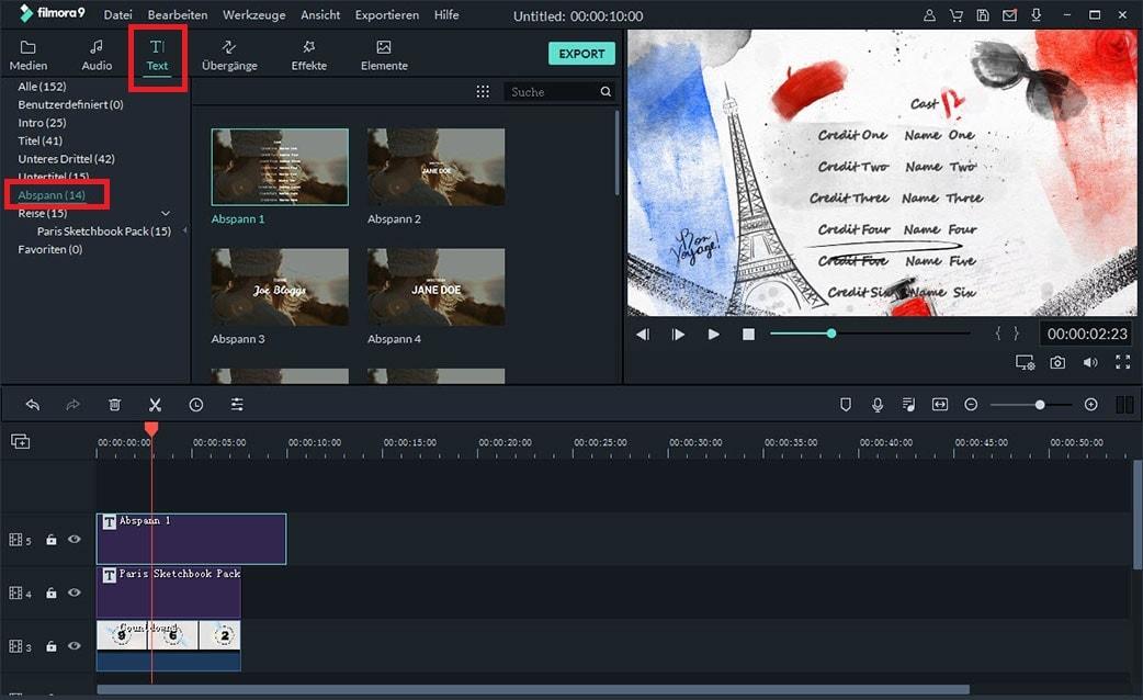 scrolltext zu video hinzufügen