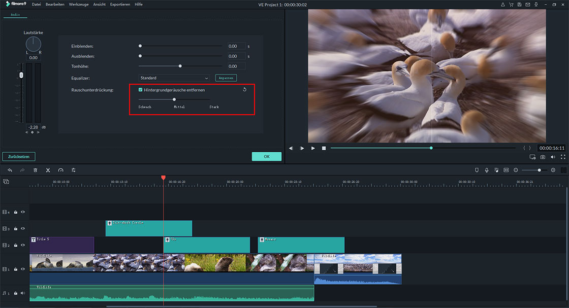 hintergrundgeräusche entfernen mit video editor