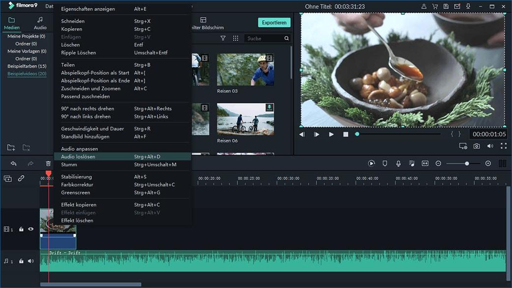 audio von video trennen mit video editor