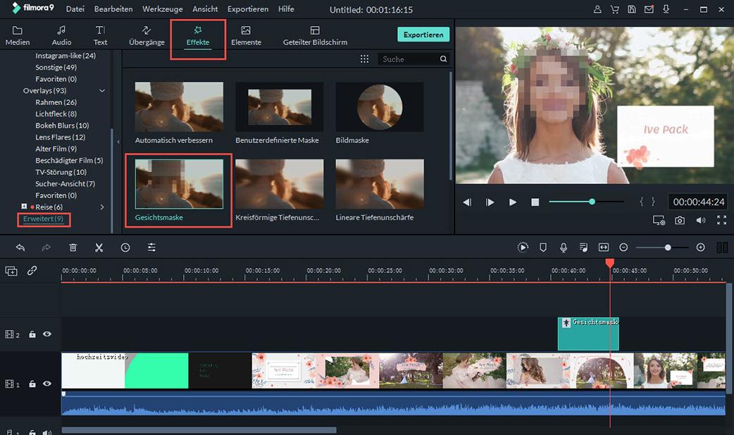 den face-off effekt auf das video anwenden