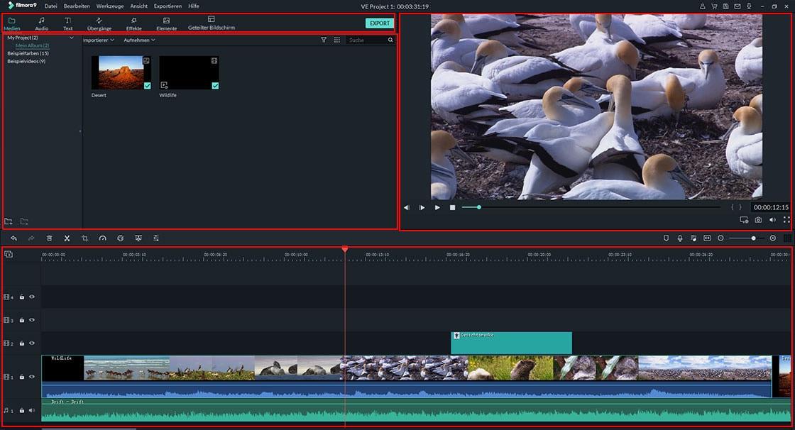 Filmora Windows Startbildschirm