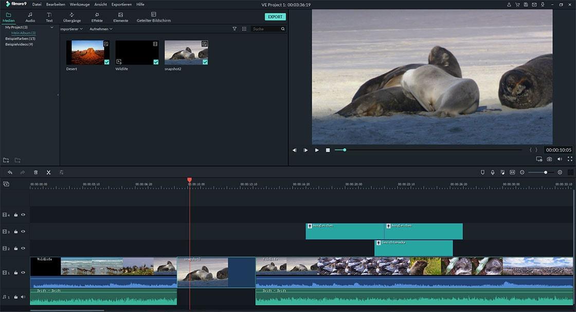 Einzelbild in Filmora Video Editor einfrieren