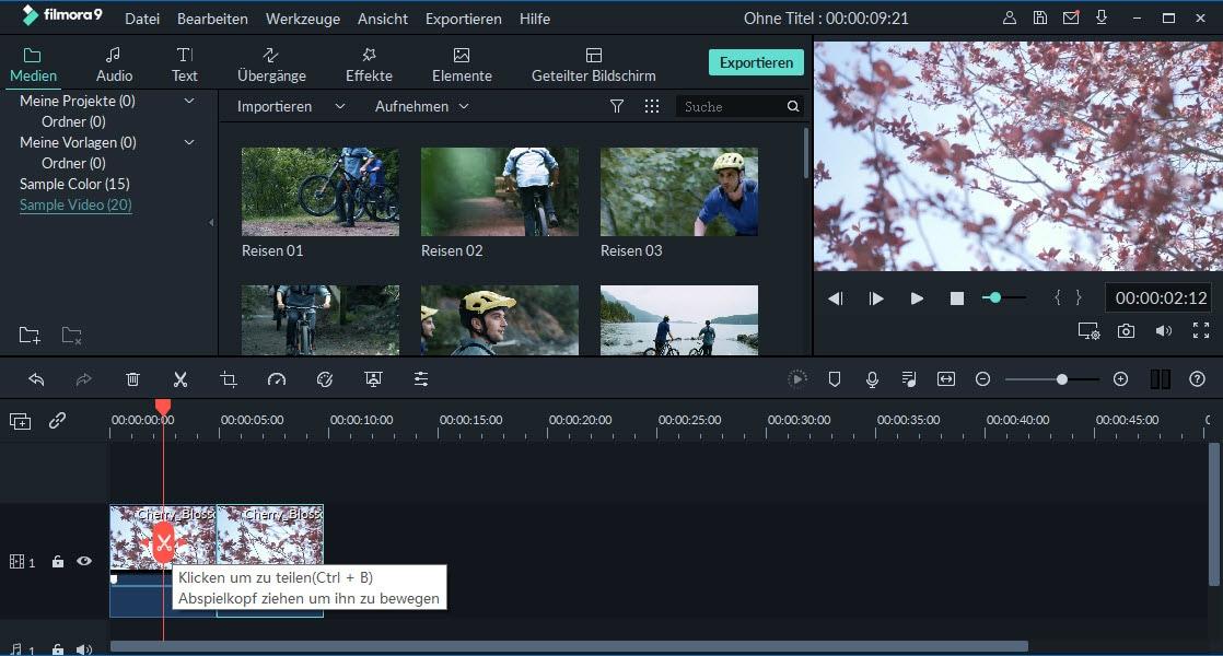 schnell aufteilen video clips