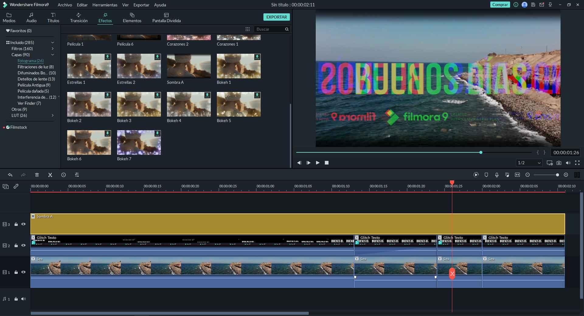 glitch text on video