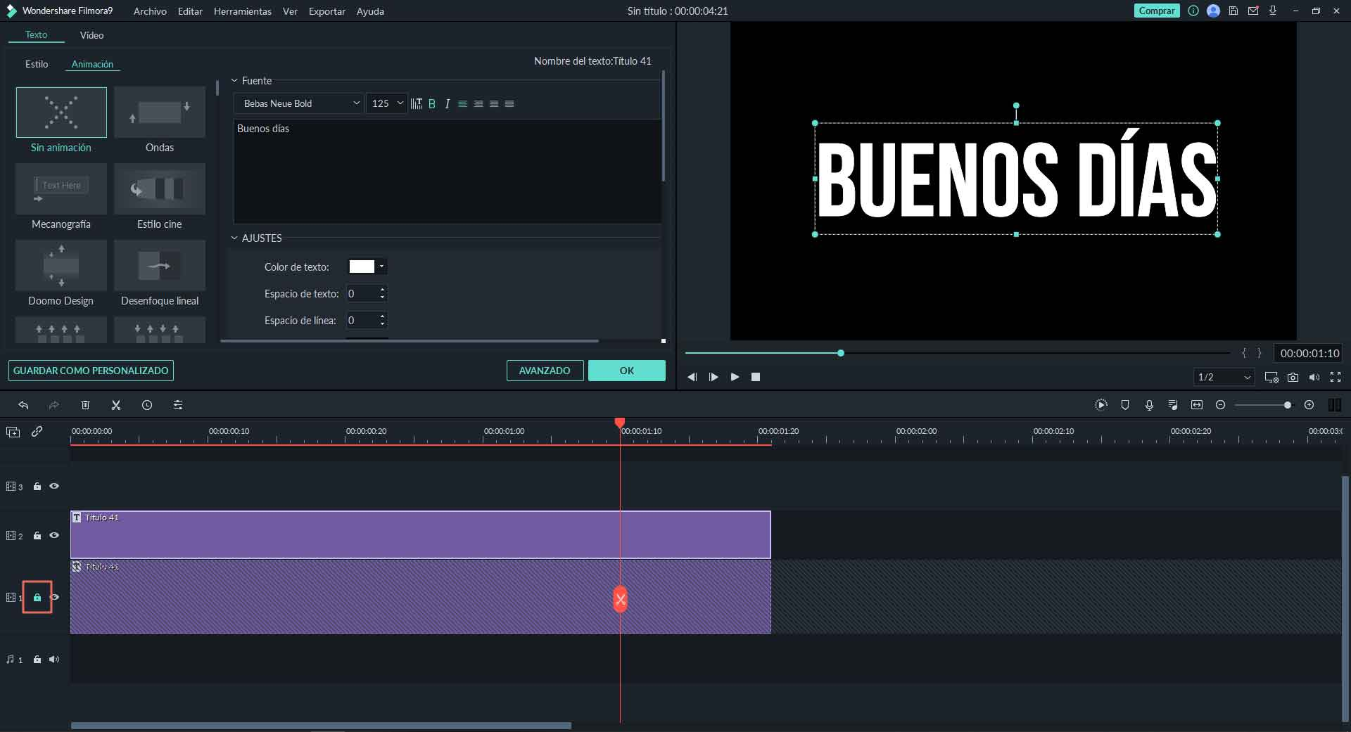 crear glitch text usando filmora