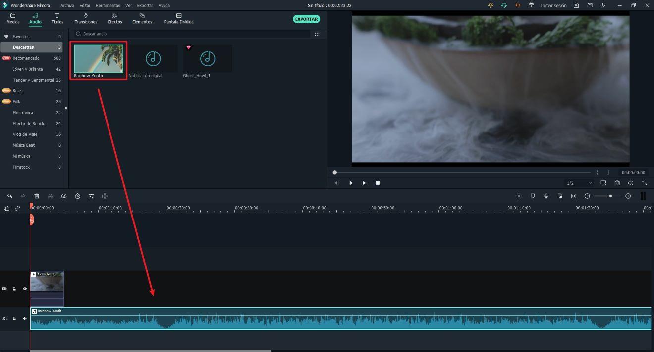 Añadir música de fondo al video