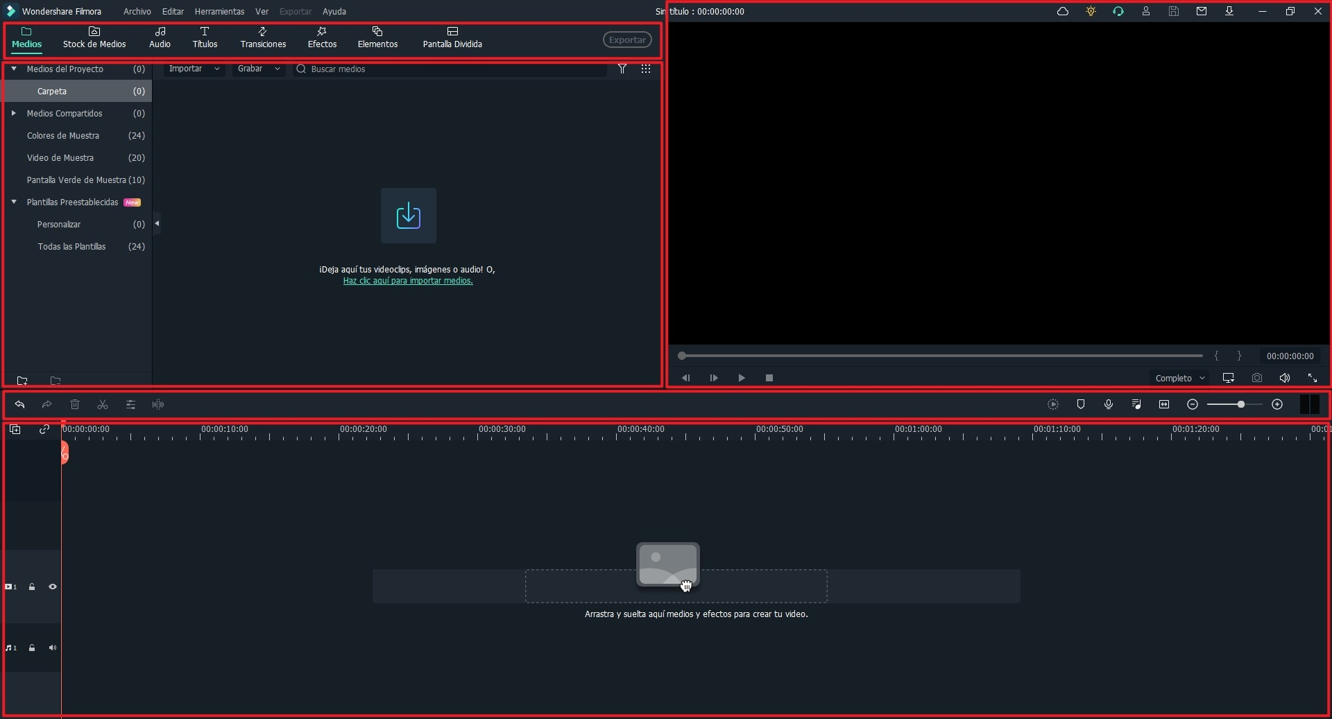 interfaz principal de la ventana de filmora