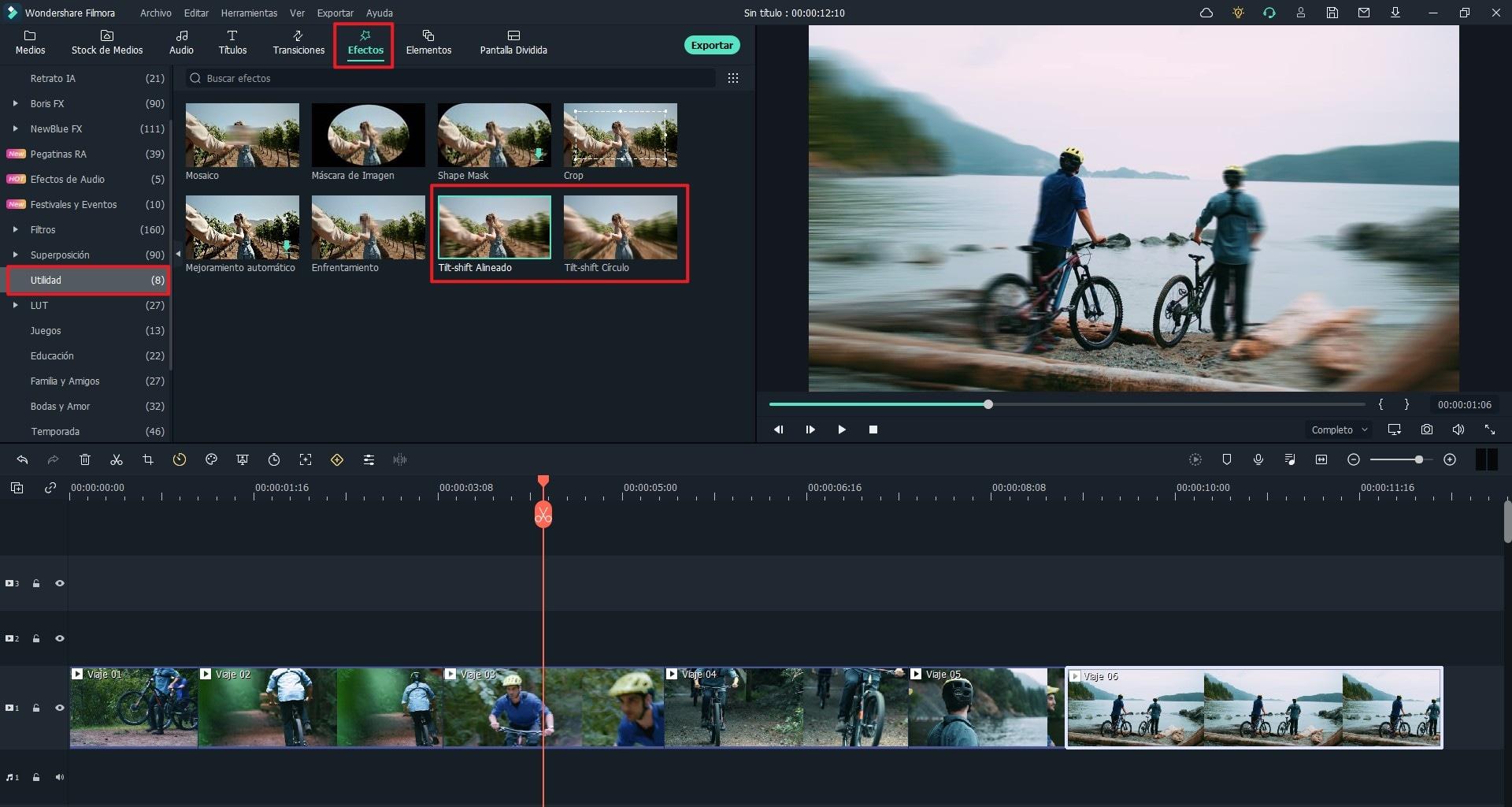 encuentra y aplica  efecto de inclinación-desplazamiento a tu video