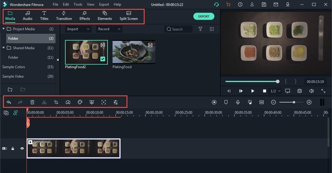 editing features of filmora