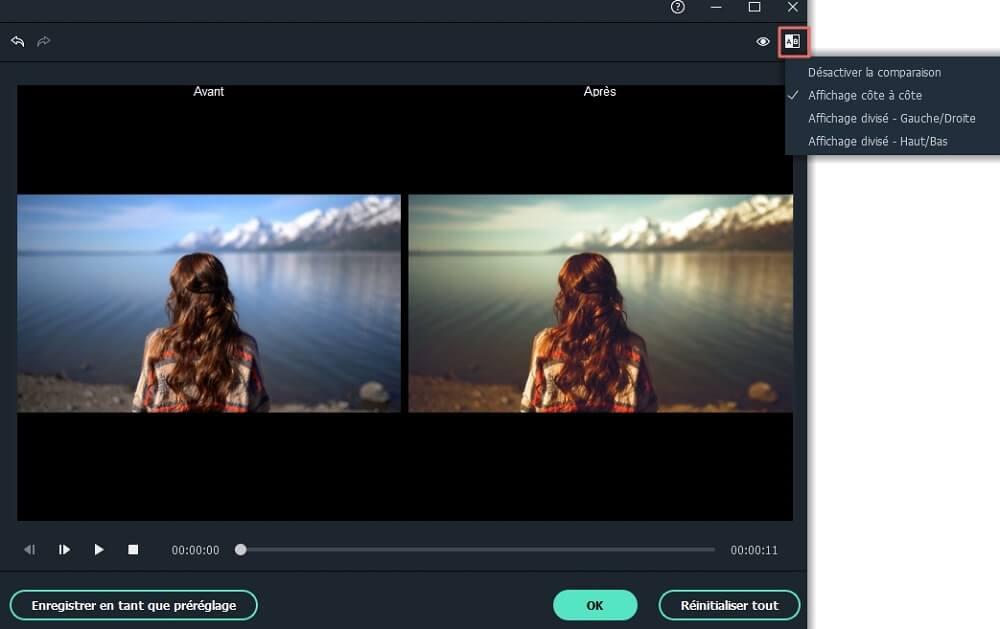 prévisualiser l'effet vidéo