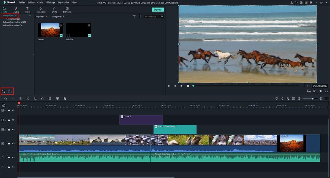 médiathèque de Filmora Video Editor