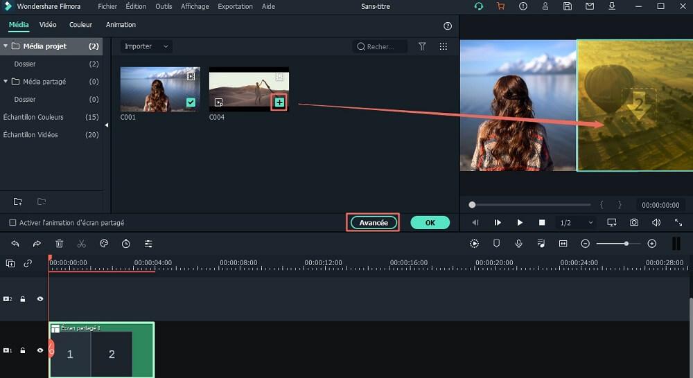 personnaliser l'effet d'écran divisé