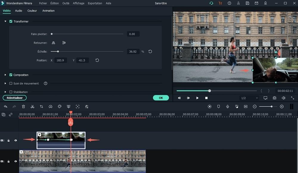 modifier la durée de la vidéo de superposition
