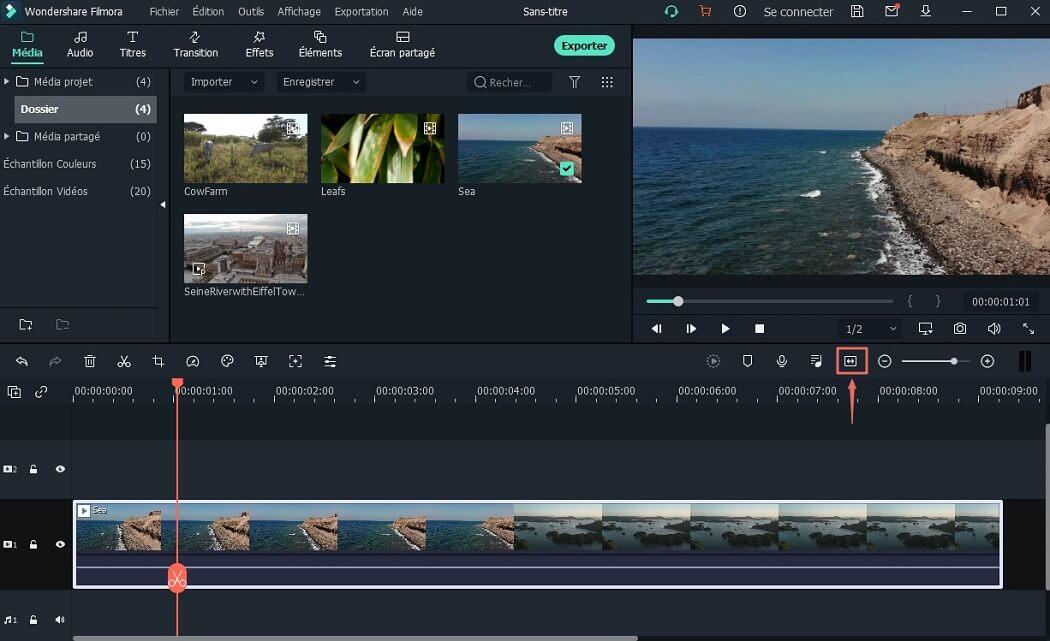 zoom vidéo dans l'éditeur vidéo Filmora