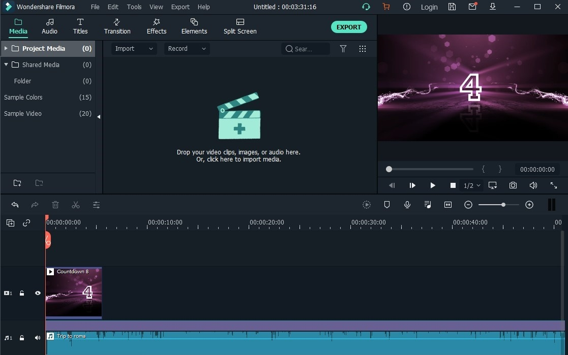 interface of Filmora Video Editor