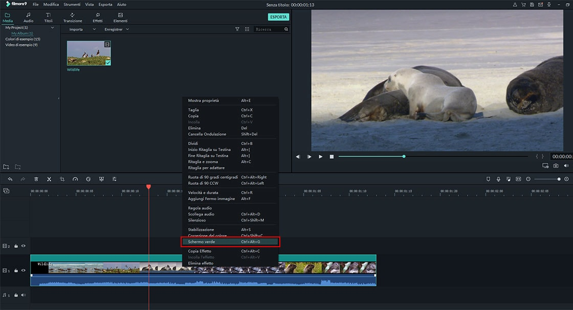 software di editing video schermo verde
