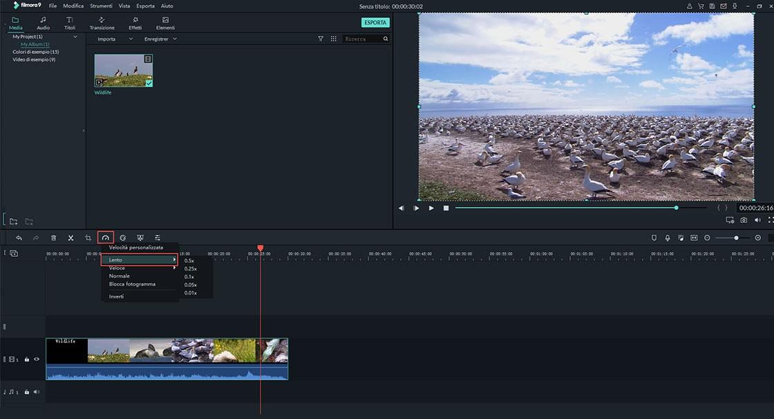 cambiare la velocità del video