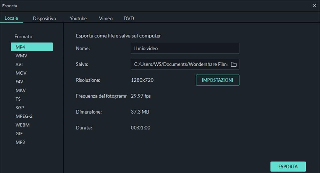 esportazione di video suddivisi o combinati
