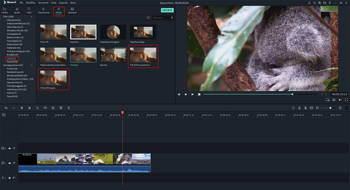 trova e applica l'effetto tilt shift al tuo video