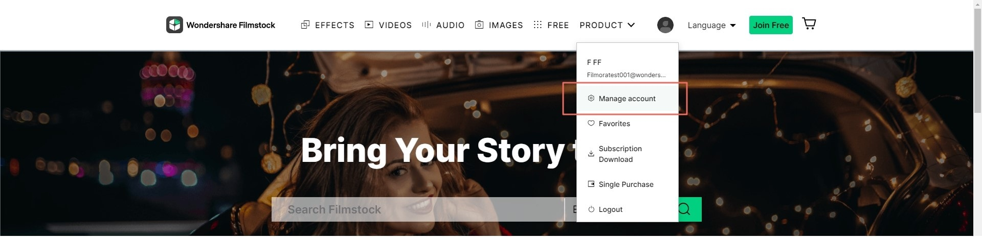 manage filmstocks account