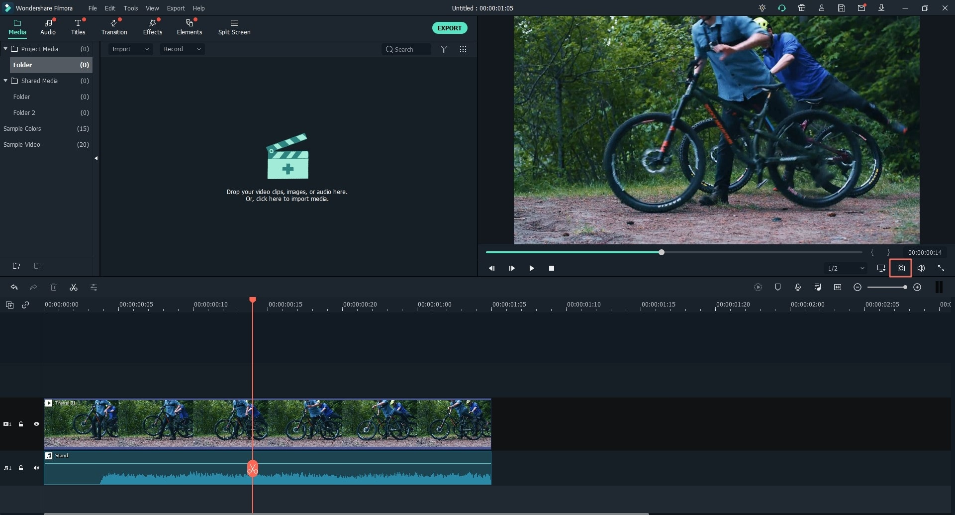 Freeze a Frame in Filmora Video Editor