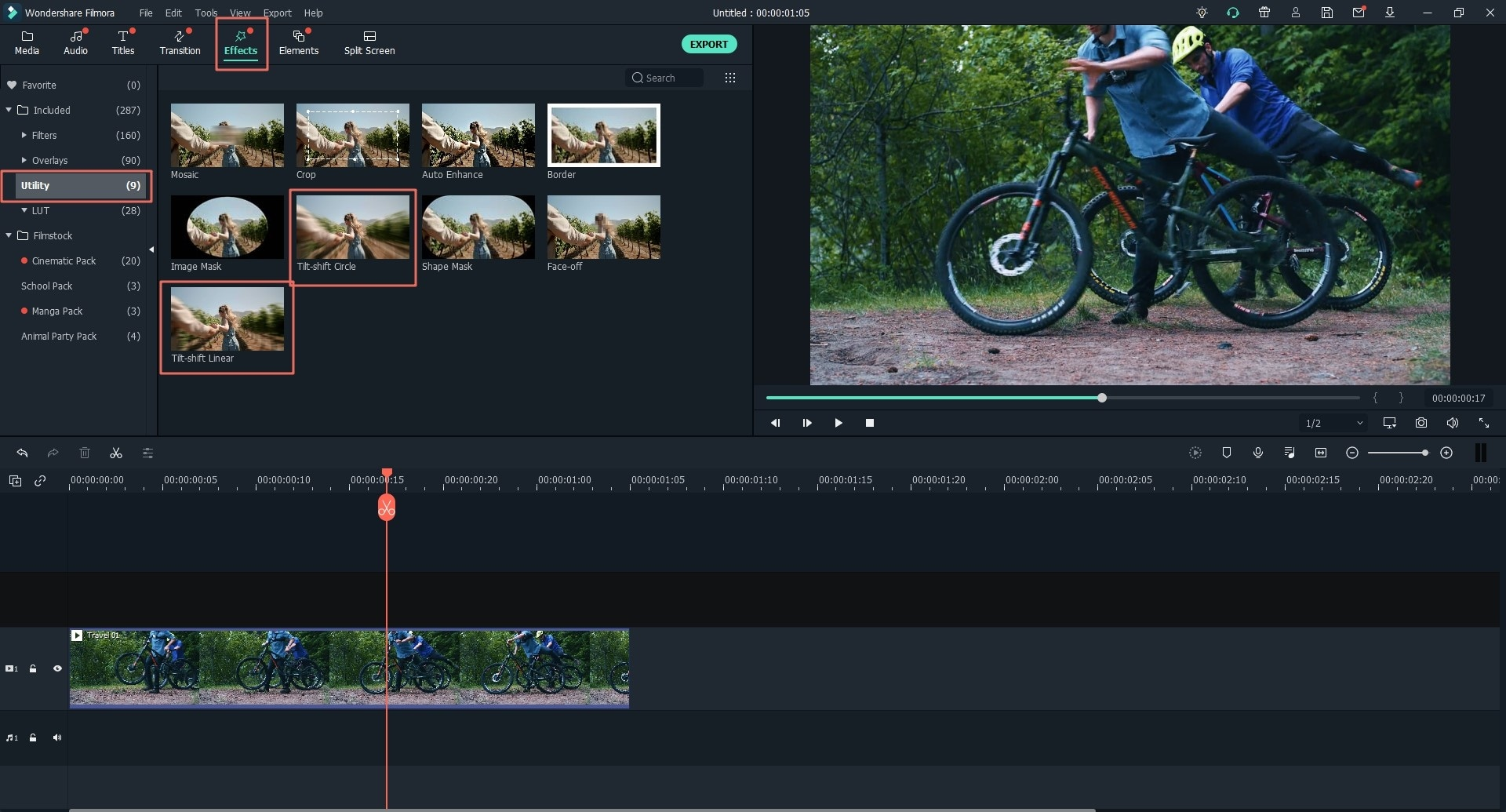 find and apply tilt shift effect to your video