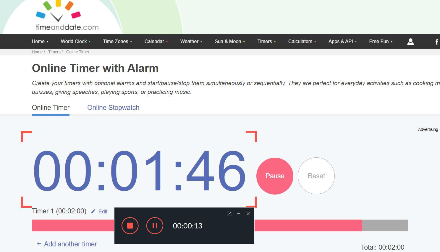 timer on video