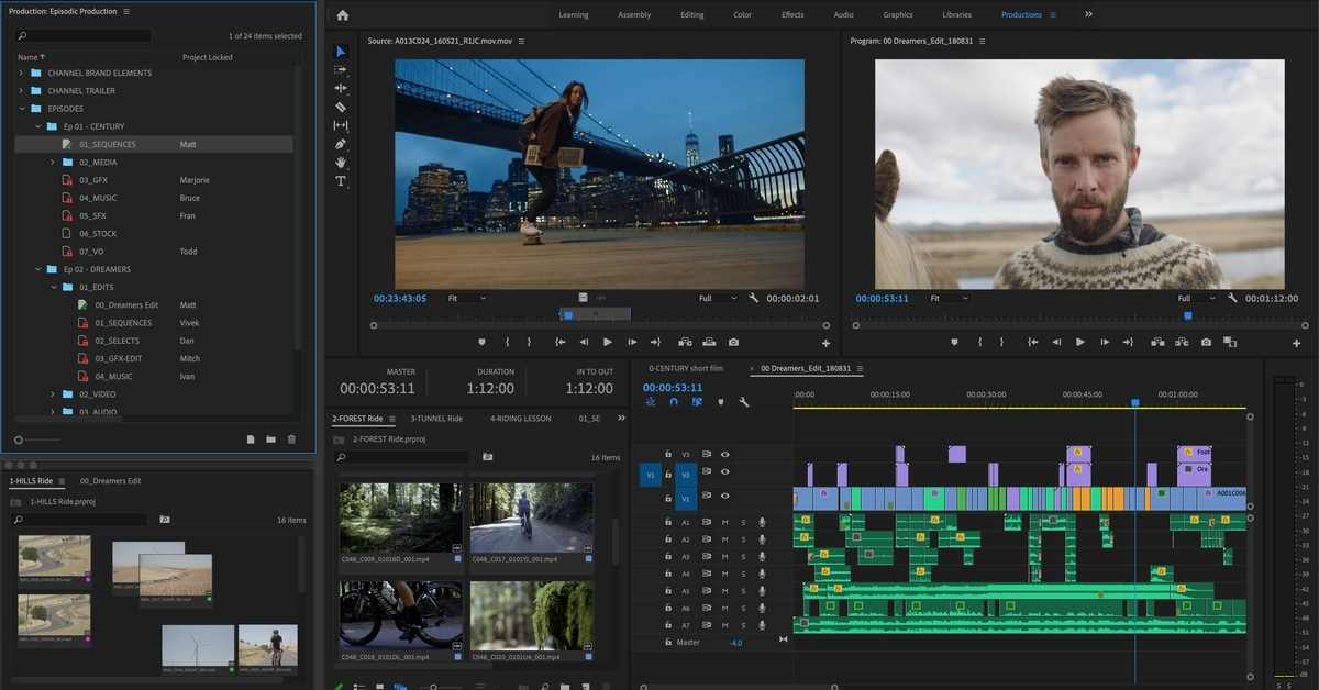 adobe premiere pro interface