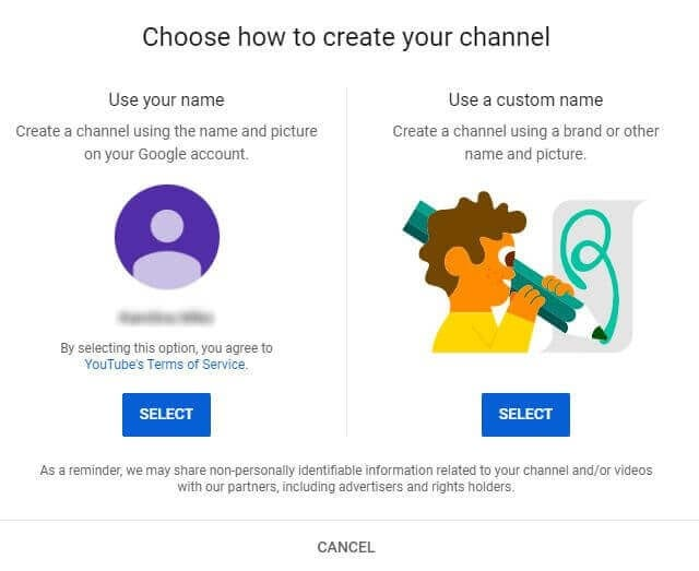 create youtube channel choose account