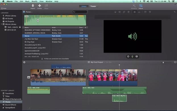 iMovie pour éditer l'audio