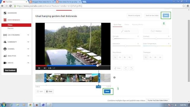trim in youtube video editor
