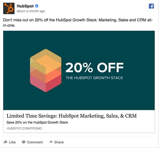 noticeable offer in the Facebook ad video