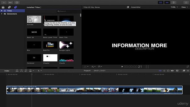 final cut pro add text to video