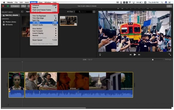 imovie combine audio and video