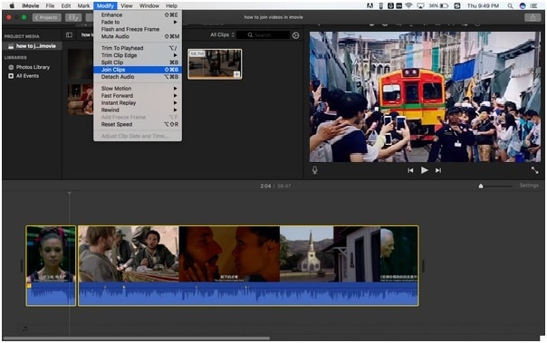 imovie combine two videos side by side