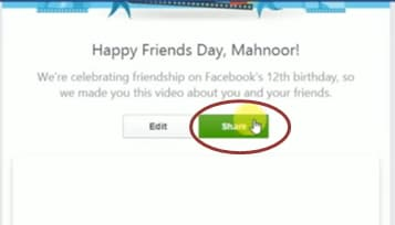 share and post friendversary video on facebook
