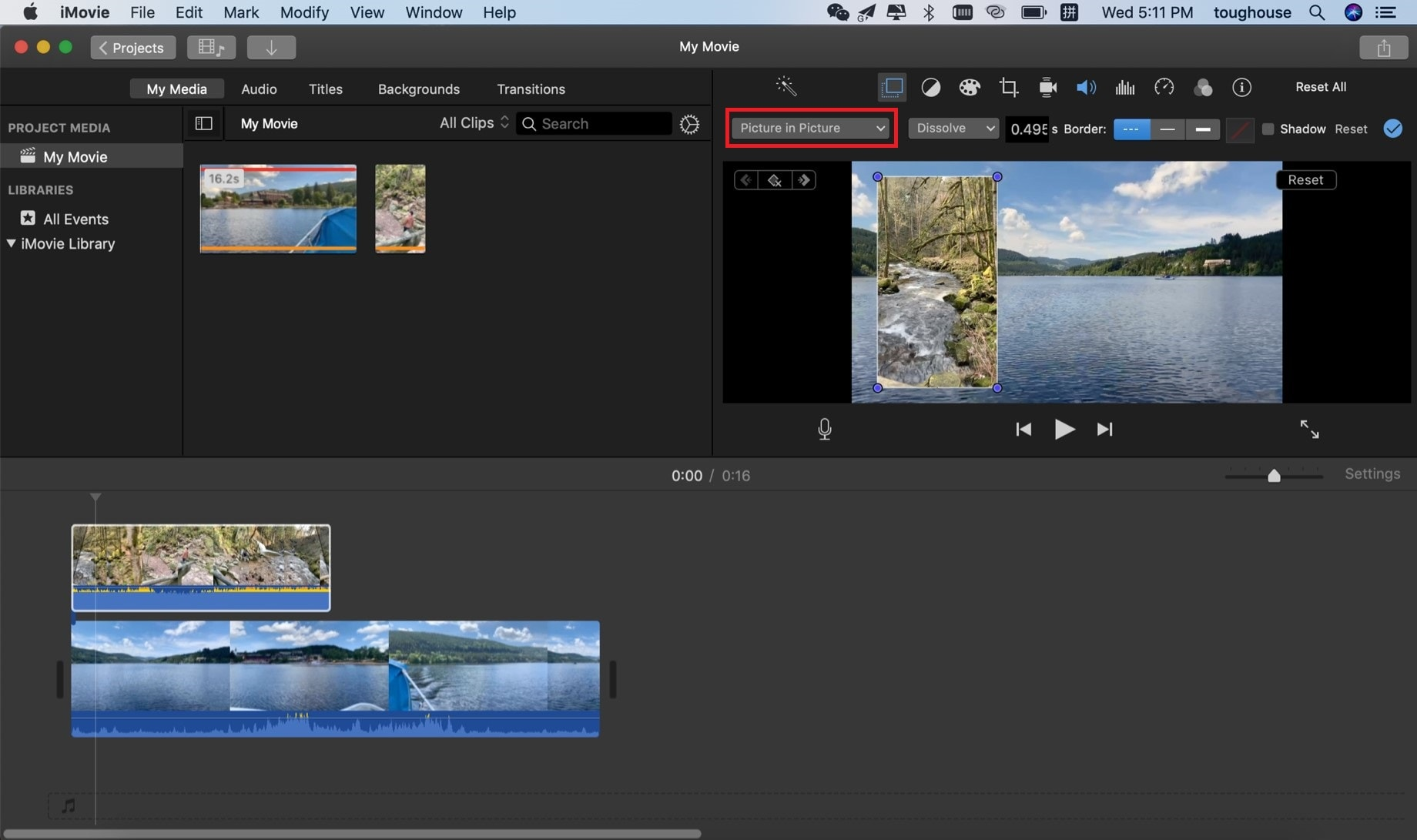 imovie picture in picture